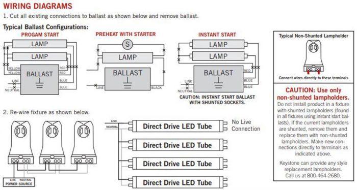 keystone kt led18 5t8 48gc 830 d led 4ft t8 18 5w 3000k 2400 lumen rh buy statelinelighting com T12 Ballast Wiring Diagram keystone emergency ballast wiring diagram